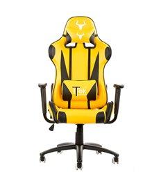 iTek Gaming Chair TAURUS P2 - Pelle sintetica PU, Doppio cuscino, Nero Giallo