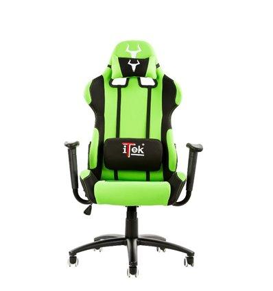 iTek Gaming Chair TAURUS S1 - Tessuto, Doppio cuscino, Nero Verde